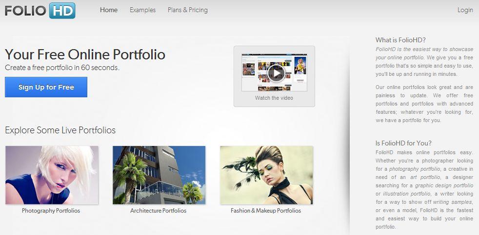 FolioHD - сайт для создания фото портфолио