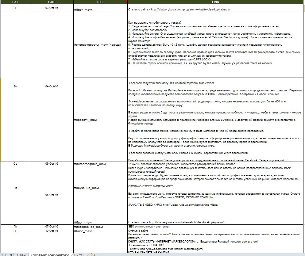 контент-план для Facebook в таблице