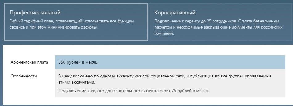 цены на сервис отложенного постинга Novapress