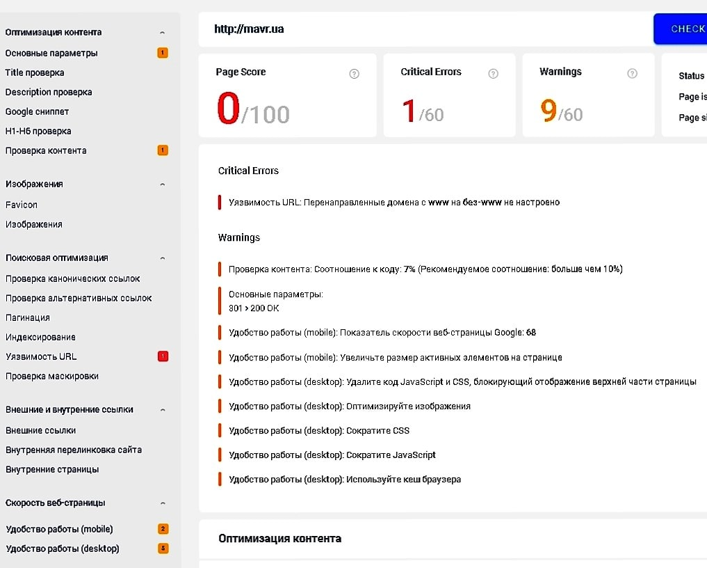 обзор Sitecheker 8