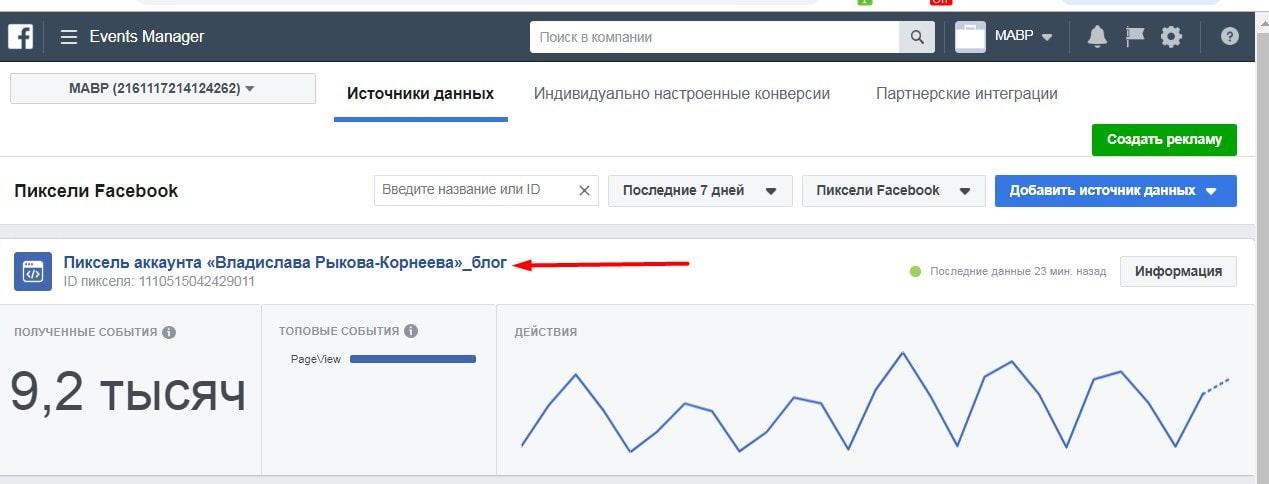 Блок работы в рекламном кабинете Facebook 1