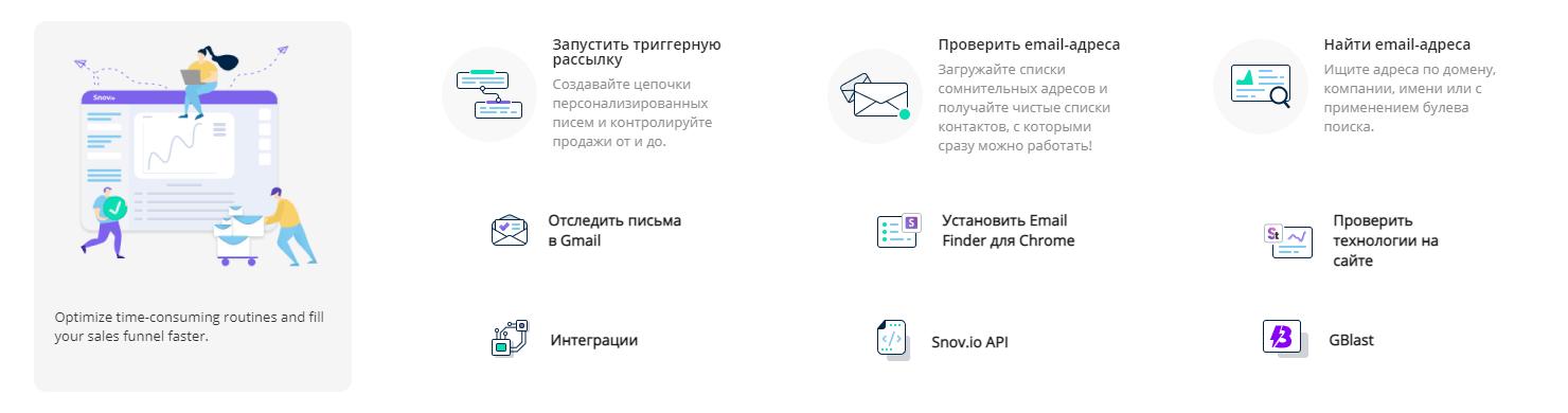 Snov.io Основные особенности
