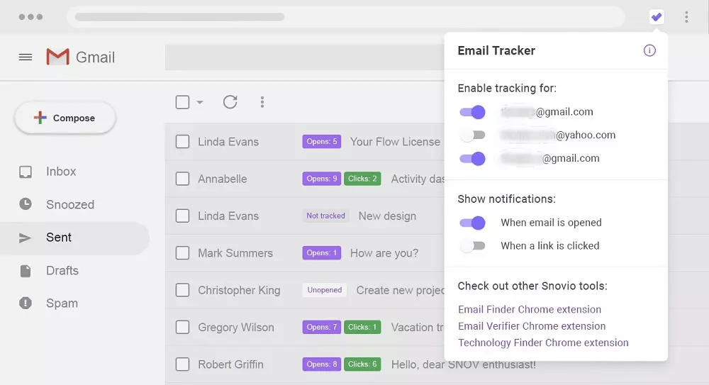 Инструмент Snov.io Gmail Tracker